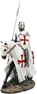Ebros Crusader English Knight On Cavalry Horse Statue 8
