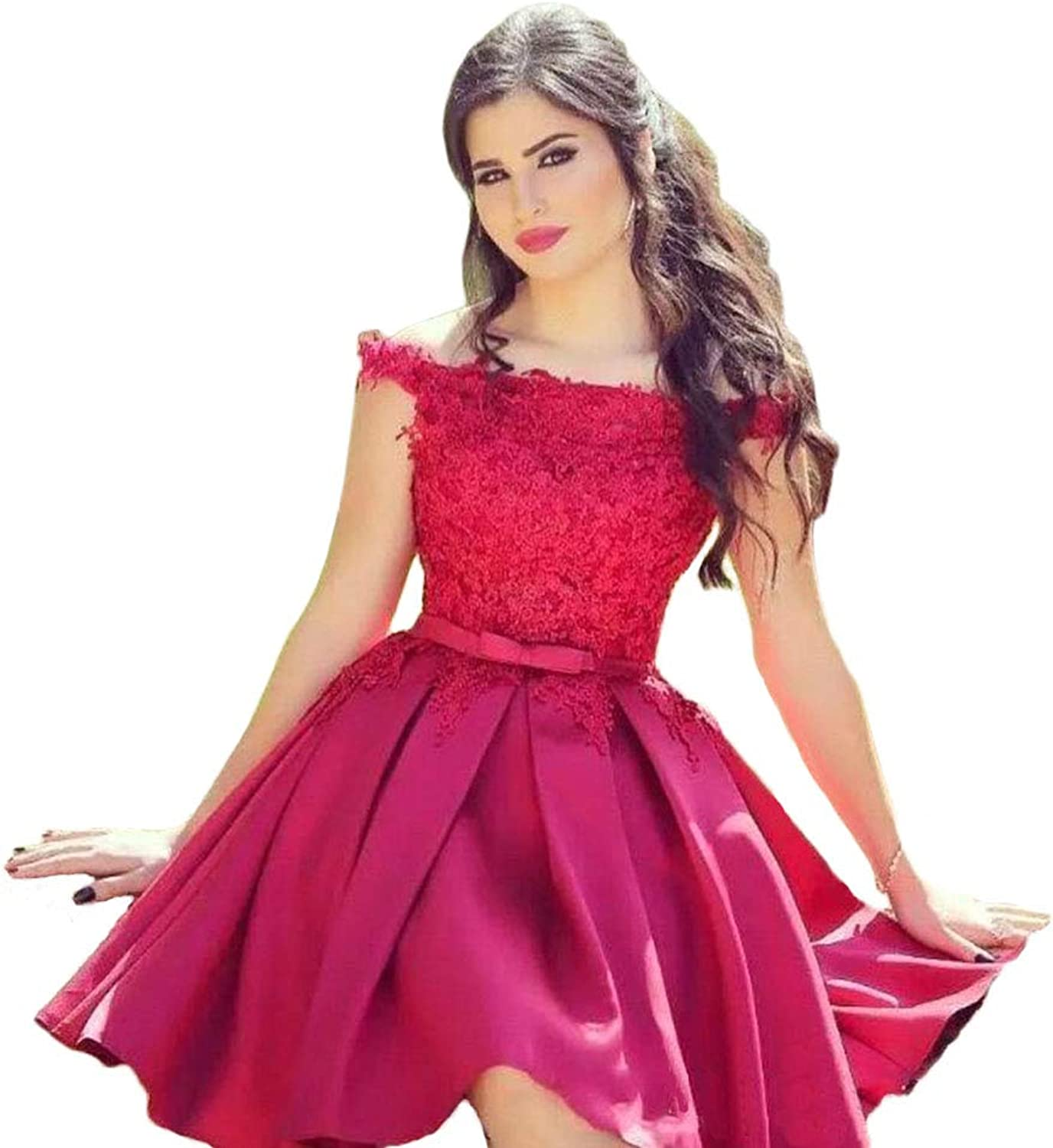 Tsbridal Knee Length Red Homecoming Dresses with Lace Appliques Prom Party Dresses Satin Bridesmaid Gown