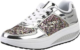 Femme Baskets Mode,Chaussure à Semelle épaisse,Sneakers Paillettes Shake Chaussures de Sport Filles Bringbring