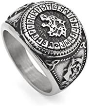GuoSuang Men 316L Stainless Steel Norse Viking Odin's Wolf Rune Vantage Ring with Gift Bag