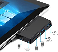 Surface Pro Hub Adapter, DAOKER USB 3.0 Data Hub with 3 Slots SD/TF Card Reader Combo Adapter, Dual USB 3.0 Dock and Micro USB Compatible Microsoft Surface Pro 2017/Pro 4/Pro 3