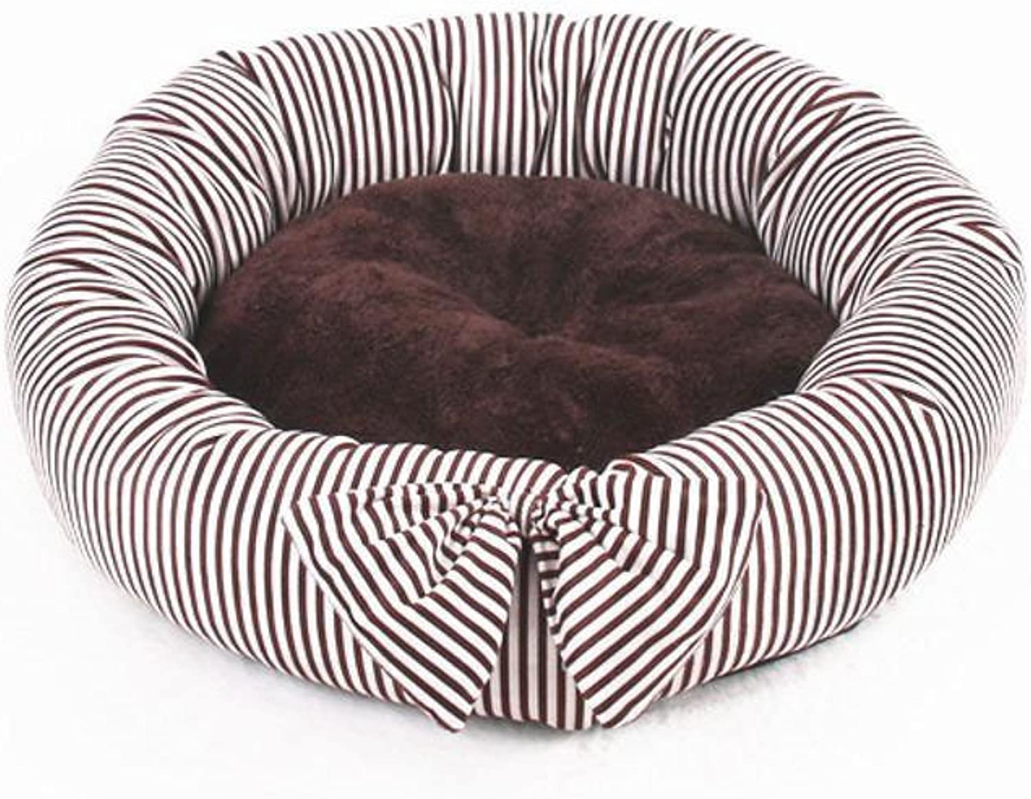 BiuTeFang Pet Bolster Dog Bed Comfort Small and mediumsized dog pet nest cushion cat nest Butterfly knot round kennel Four Seasons