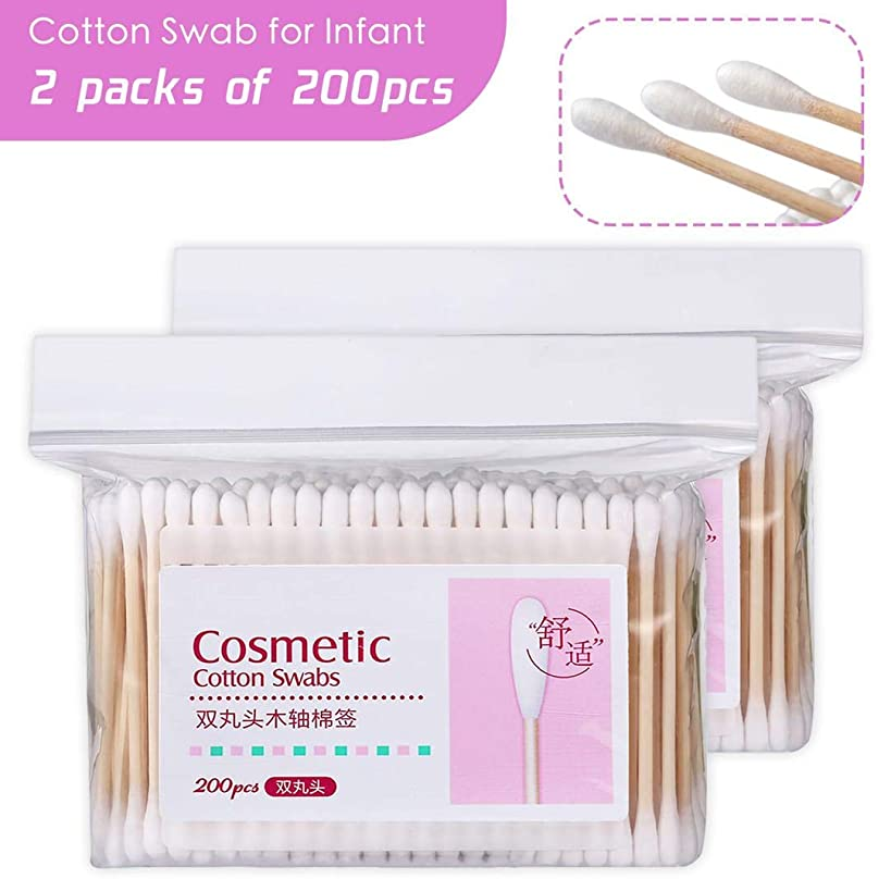 400Pcs Cotton Swabs Double Tipped Cotton Buds Spiral Head Multipurpose Safe Highly Absorbent Hygienic Cleaning Sterile Sticks