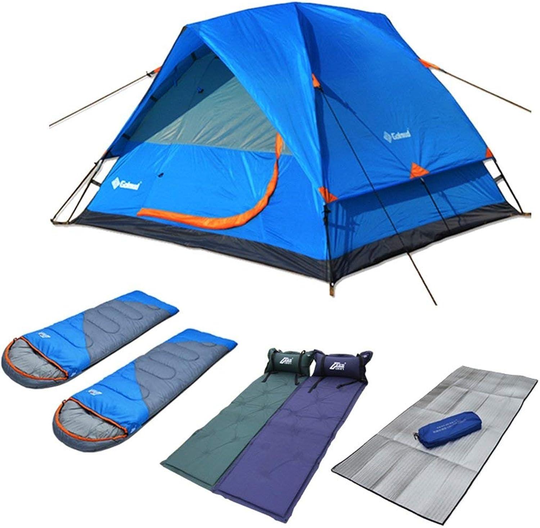 JFFFFWI Camping Zelt im Freien Viele Leute Doppelzelte 3-4 Personen Ausrüstung Zeltpaket