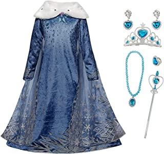 FZCRRDU KOCCAE Elsa meisjeskostuum met cape, sneeuwvlokken, jurk met pluche kraag, voor kinderen, prinsessenjurk, carnaval...