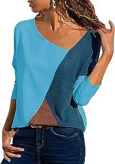 Yidarton T-Shirt Damen V Ausschnitt Kurzarm/Langarm Sommer Casual Farbblock T Shirt Top Bluse Oberteil