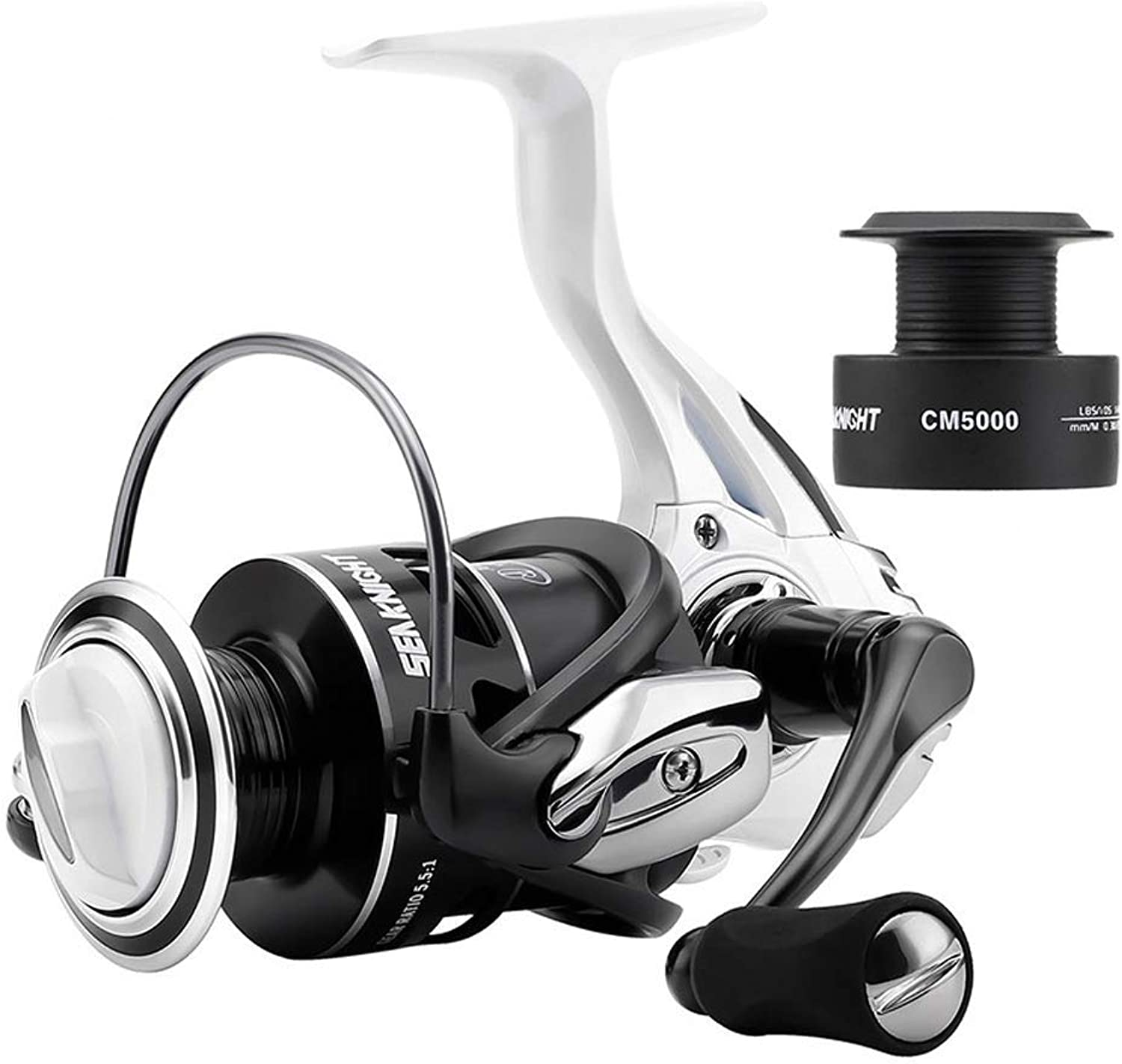 Lightweight Fishing Spinning Reel, 5.5 1 9 1 Ball Bearings Carbon Drag System Wheel, Max Drag 713kg, Carp Fishing Reel with Free Spare Spool,2000