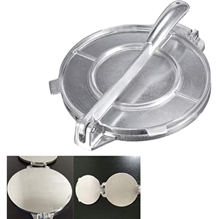 Dough Press Bakeware Gadgets DIY Baking Tool Accessories Non-Stick Rotis Press Foldable Aluminum Flour Tortilla Press 8 Inch Tortilla Press Maker
