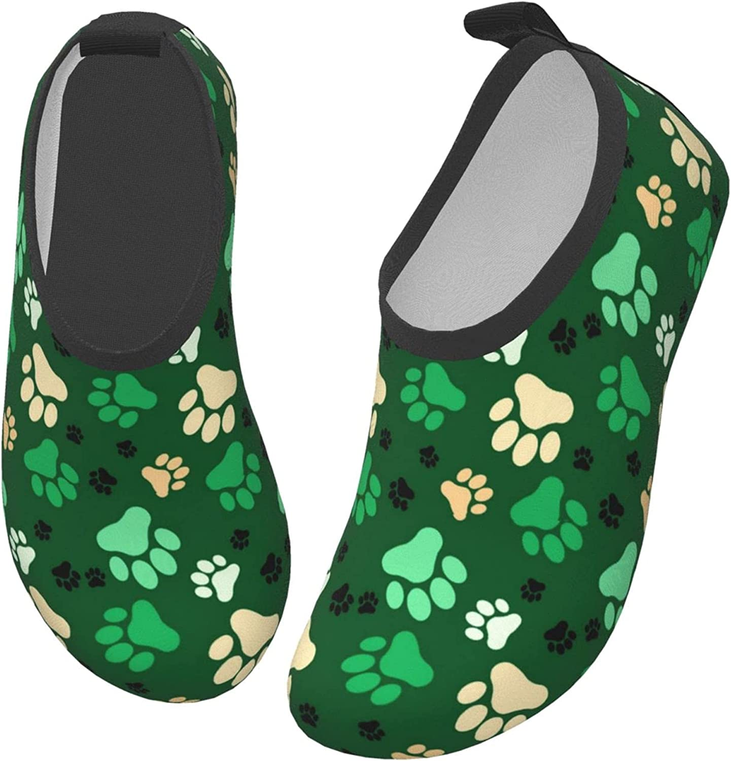 Cute Hand Drawn Dog Paw Prints Doodles Water Shoes for Children Beach Aqua Shoes Swim Shoes for Girls Quick Dry Barefoot for Upstream Surfing with Drainage
