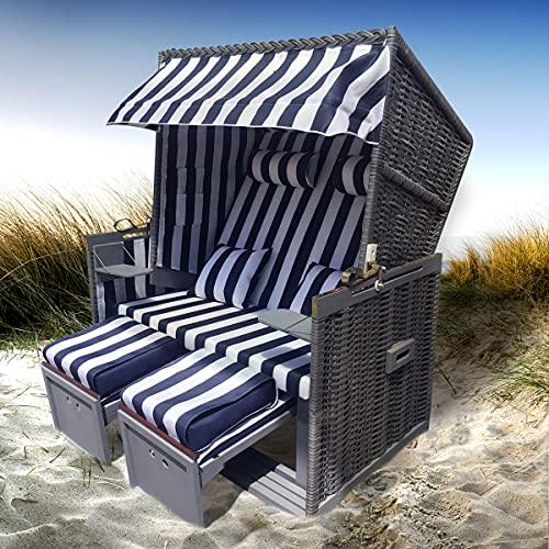 BRAST Strandkorb Nordsee XXL Volllieger Blau Weiß Rattan Grau incl Schutzhülle 2 Sitzer 120cm breit Gartenliege Sonneninsel Poly Rattan