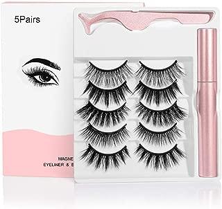 RORASA Magnetic Eyelashes with Magnetic Eyeliner Eye Makeup Lashes Kit Natural Look Magnetic Eyelashes Set (Pink-5 pairs)