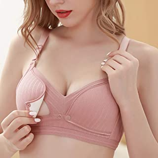 Remanlly Women Nursing Bras Pure Cotton Bras Double Openings Bra Thread Bras Underwear Lingerie