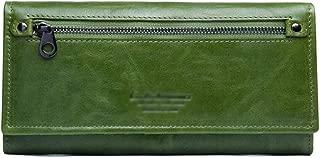 Women's Wallet Retro Clutch Bag Multi-Function Long Wallet Casual Zip Wallet Candys house (Color : Green, Size : 19 * 10 * 3cm)