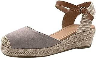 Women Cap Toe Closed Toe Slingback Espadrille Heel Ankle Strap Platform Wedge Sandals Shoes by Lowprofile