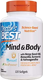 Doctor's Best Mind & Body with Hemp Seed Oil, Boswellia, Turmeric & Ashwagandha, Promote a Healthy Mood, Joints and mobili...
