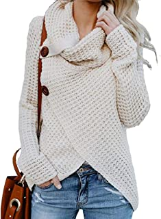 Women's Chunky Turtle Cowl Neck Asymmetric Hem Wrap Sweater Coat with Button (Beige, X-Large)