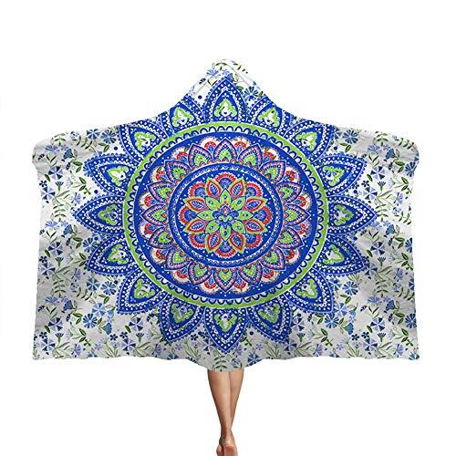 Manta con capucha Manto de mandala Manta doble de felpa para niños Brújula Magia,G,130 * 150cm