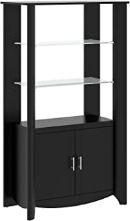 Bush Furniture Aero Tall Library Storage Cabinet with Doors in Classic Black