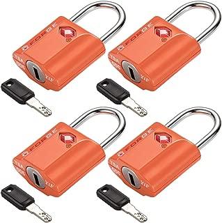 Orange 4 Pack TSA Approved Luggage Locks