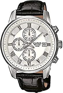 Casio Beside Men's White Dial Leather Band Watch - Bem-511L-7Avdf, Chronograph Display