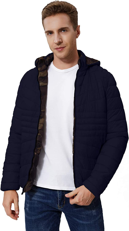 Men's Full-Zip Lightweight Water-Resistant Packable Hooded Puffer Jackets M DK.Navy