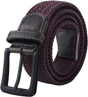 Mens Belt, Elastic Belt for Men, Black Belt Buckle Stretch Woven Belt