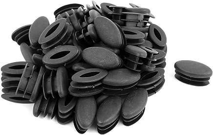 sourcingmap® Casa Ufficio Ovale in plastica a forma di sedia tavolo gamba piedi Tubo di inserimento nero 50pz