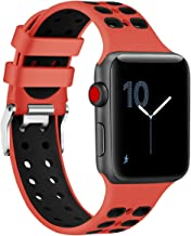 Red Sport Edition Band for Apple Watch 38mm,Soft Silicone Sport Strap Replacement Bands with Classic Square Stainless Steel Dual Buckles for iWatch Apple Watch Series 3/2/1