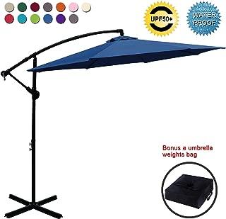 ABCCANOPY Patio Umbrellas Cantilever Umbrella Offset Hanging Umbrellas 10 FT Outdoor Market Umbrella with Crank & Cross Base for Garden, Deck, Backyard, Pool and Beach, 12+ Colors