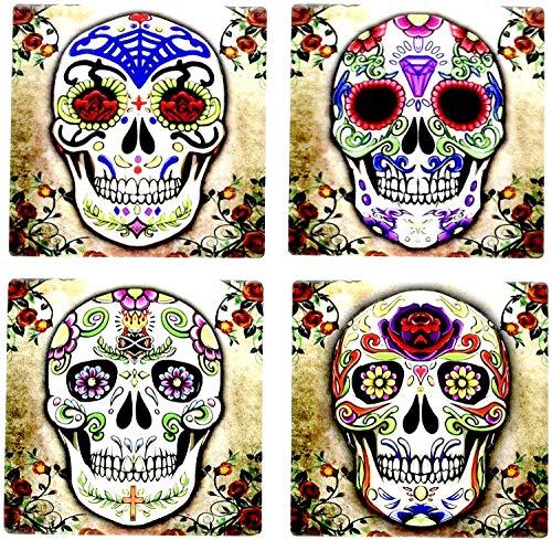 Day of the Dead Dia De Muertos - Sugar Skull Spirit 4 Inch by 4 Inch Ceramic Tile Coaster - Set of 4