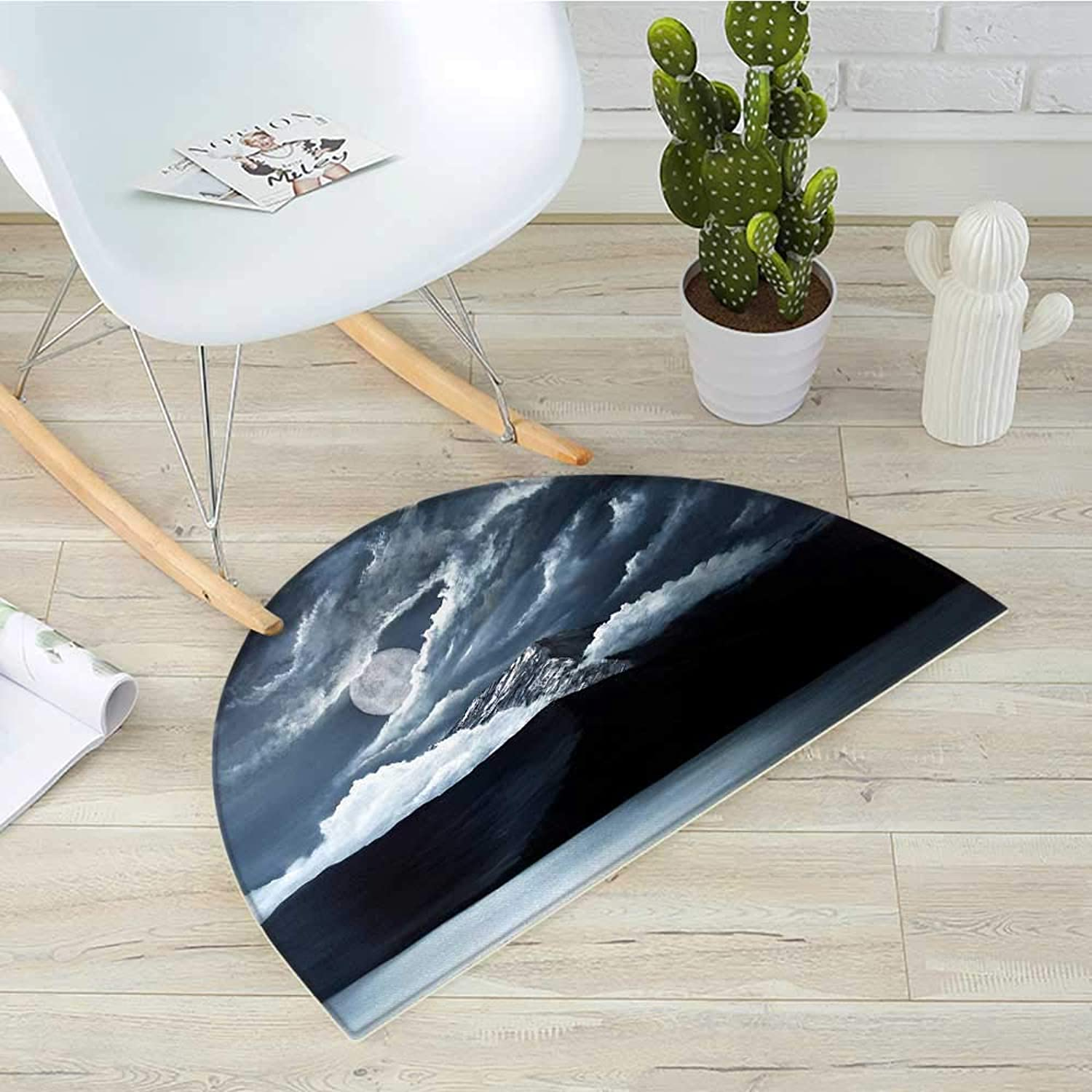 Landscape Semicircle Doormat Moon Over Lake and Hills with Dark Storm Clouds Twilight Times Dawn at Night Print Halfmoon doormats H 35.4  xD 53.1  Grey