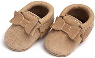 Sponsored Ad - Freshly Picked - First Pair Soft Sole Newborn Blush Bow Moccasins - Newborn Baby Girl Shoes - Size 0 in Mul...
