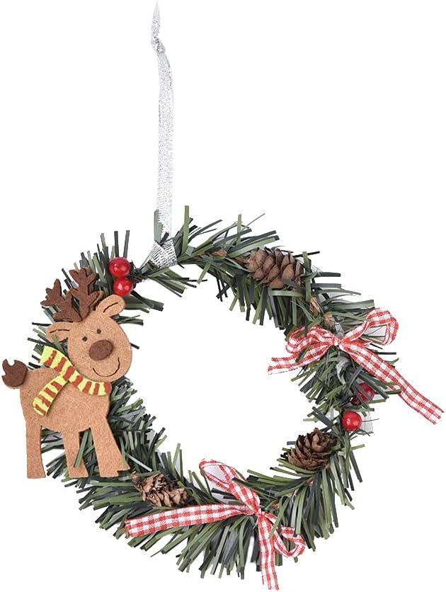 BOHISEN 1pcs Lowest price challenge Mini Christmas Pine Deer Snowman Claus Wreath Cheap SALE Start Santa