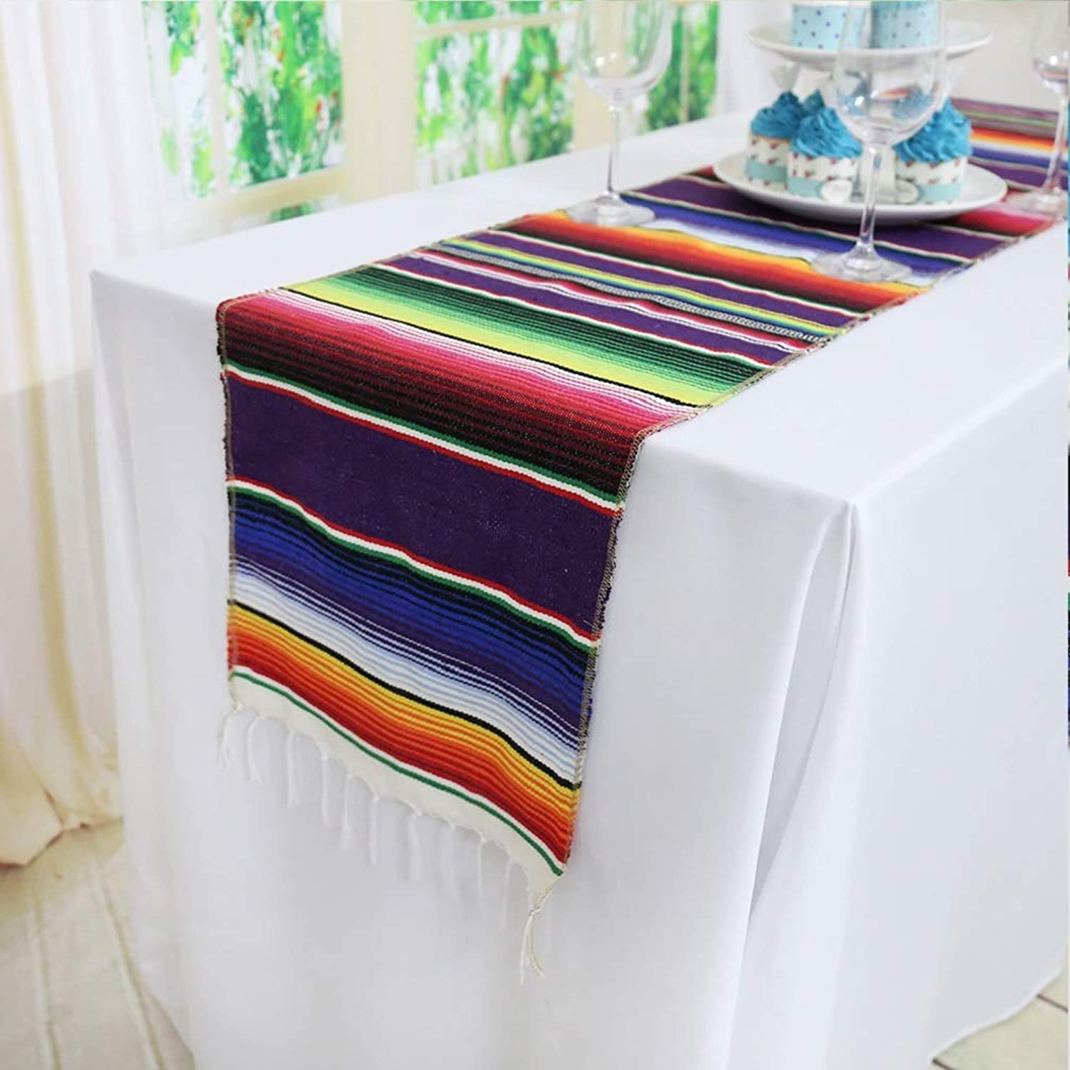 TRLYC 20pcs 14 x84  Serape colorful Striped Mexican Table Runners for Wedding Party