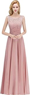 Women's A-Line V-Back Long Prom Dresses Evening Gowns Lace Bridesmaid Dresses