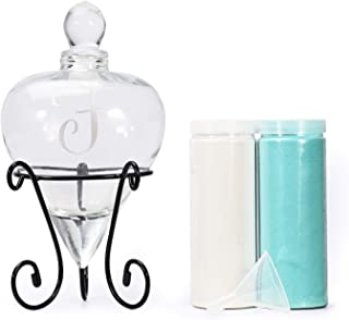 AF ANDREW FAMILY Monogrammed Etched Wedding Glass Heart Shaped Unity Set with Metal Stand Initial F White& Blue Sand Included
