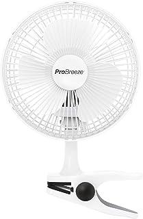 Pro Breeze 小型扇風機 クリップ式 卓上 360度風向調整 風量2段階切替 電源コンセントタイプ 超静性 どこでも取り付け可能 メーカー1年保証付
