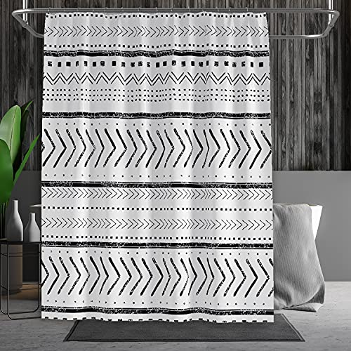 """Miabedding Boho Shower Curtain Sets,White Shower Curtain Bohemian Geometric Pattern, Water Repellent Fabric Shower Curtain for Bathroom with 12 Hooks and Weighted Bottom Hem (72"""" x 72"""" Inches)"""
