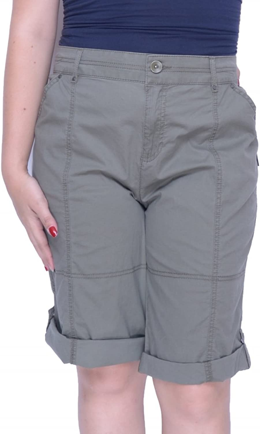 Style & Co. Cuffed Skimmer Shorts Olive Spring Green 16 Cargo