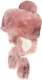 Futrzane Faux Fox Fur Winter Trapper Hat Women Russian Style Pompom