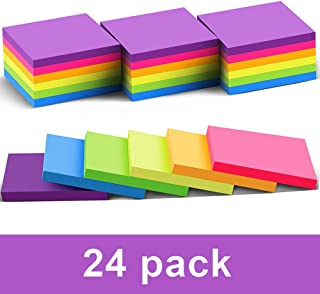 (24 Pack) Sticky Notes 3x3 in Post Bright Stickies Colorful Super Sticking Power Memo Pads, Strong Adhesive, 70 Sheets/pad