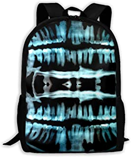 Gfduyfgh Halloween Spooky Skeleton Teeth Cute Backpack Suitable for Junior High School Girls Boys Animal Bag Printing Shoulder Bag
