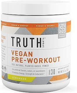 Natural Vegan Pre Workout Powder- Plant Based, Keto & Vegan Friendly- Energy, Focus & Performance - Men & Women - Boost Muscle Strength & Endurance (Lemonade)