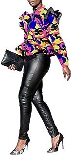 RkBaoye Womens Sexy Jacket High Neck Ruffle Front Zip Camo Jackets Coat
