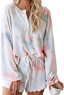 Womens Tie Dye Printed Lounge Sets Long Sleeve Short PJ Set Nightwear Sleepwear Loungewear