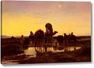 Camel Train by an Oasis at Dawn by Eugene-Alexis Girardet - 15