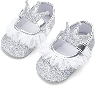 LIVEBOX Infant Newborn Baby Girl Shoes, Premium Soft Anti-Slip Lace Crib Shoes Sequin Prewalker Toddler Shoes Mary Jane Crown Princess Dress Shoes for 0-18 Months Babies