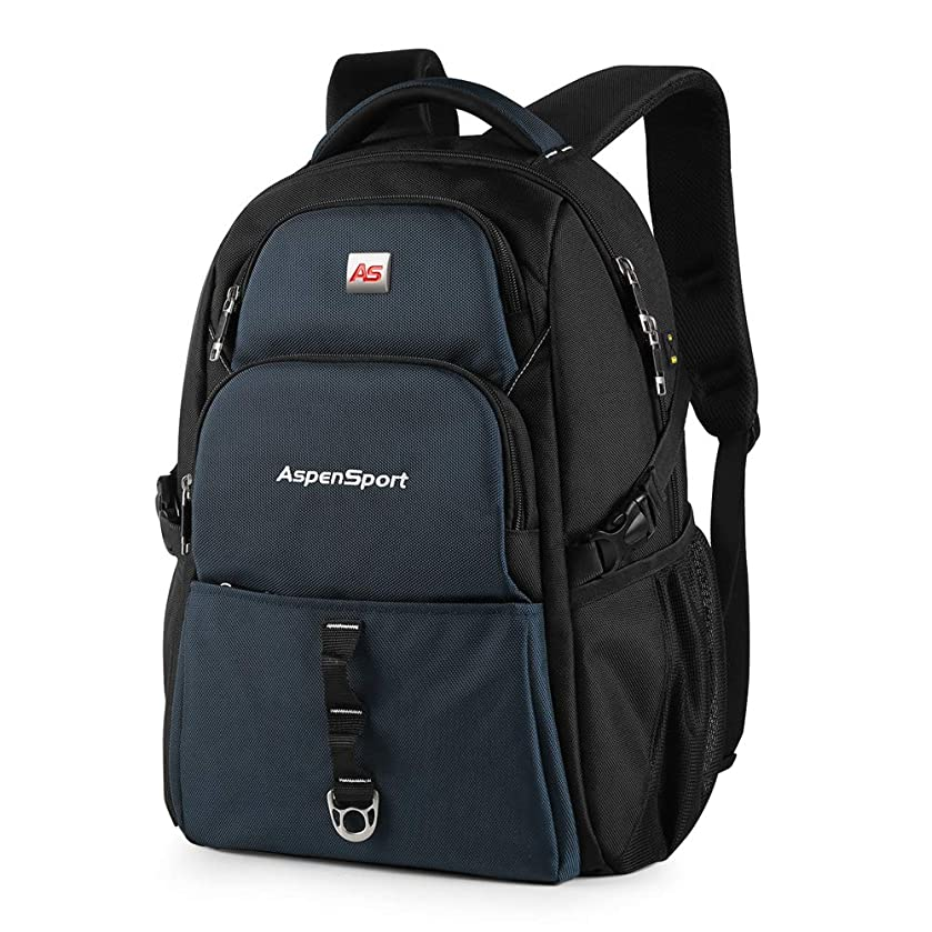 ASPENSPORT Lightweight Laptop Backpack Fit 17 Inch Computer Durable College Students Book Bag Water Repellent Business Travel Hiking Daypack Large 36L Navy