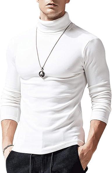 Top Camiseta de Manga Larga para Hombre Polo Camisa Adecuada de Cuello Alto T-Shirt Cálido Slim de Color sólido Otoño Invierno