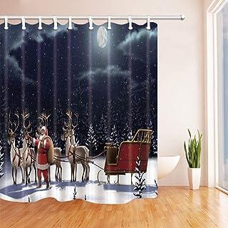 GooEoo バスルームのクリスマスシャワーカーテン、サンタクロースのプレゼント、月光の下でのトナカイの運転、ポリエステル生地の防水バスカーテン、シャワーカーテンのフック付き、71X71in
